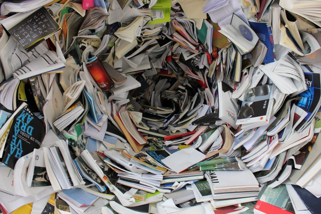 books and papers spiral
